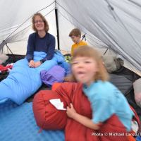 In the tent, Grand Canyon