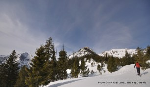 Skiing to Mt. Heyburn.