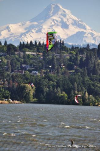 Gorge2-112 WIndsurfer, Mt. Hood over Columbia Gorge