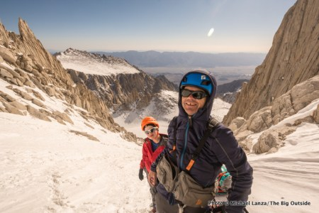 Me wearing the Ribz Front Pack on California's Mount Whitney (with my son Nate).