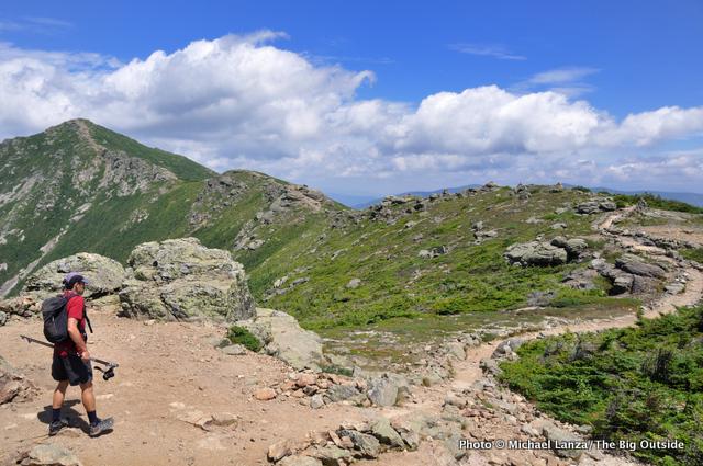 A hiker on Franconia Ridge, White Mountains, N.H.