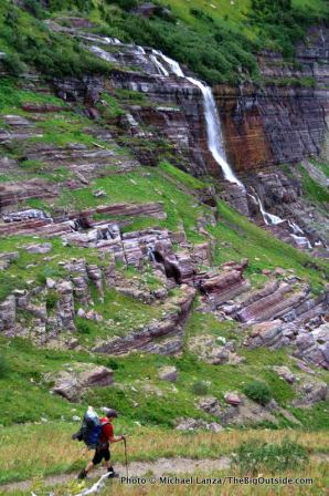 Backpacker, Morning Eagle Falls, Piegan Trail Pass, Glacier National Park.