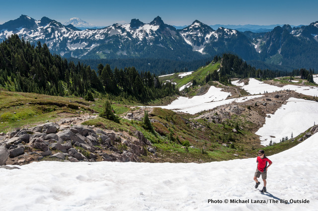 Hiking above Paradise at Mount Rainier National Park.
