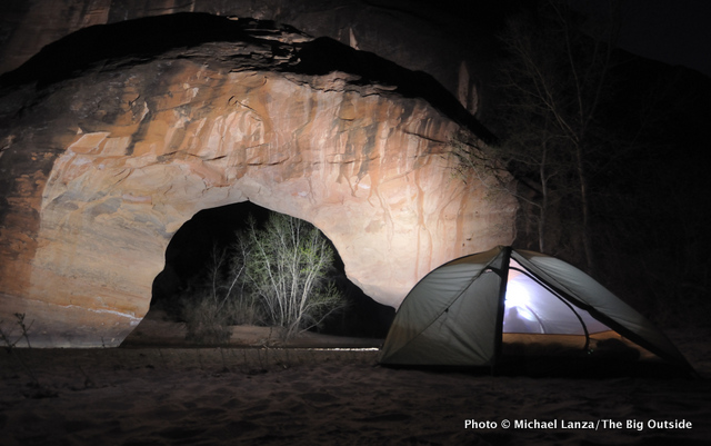 Camp below Coyote Natural Bridge, Coyote Gulch, Grand Staircase-Escalante National Monument, Utah.