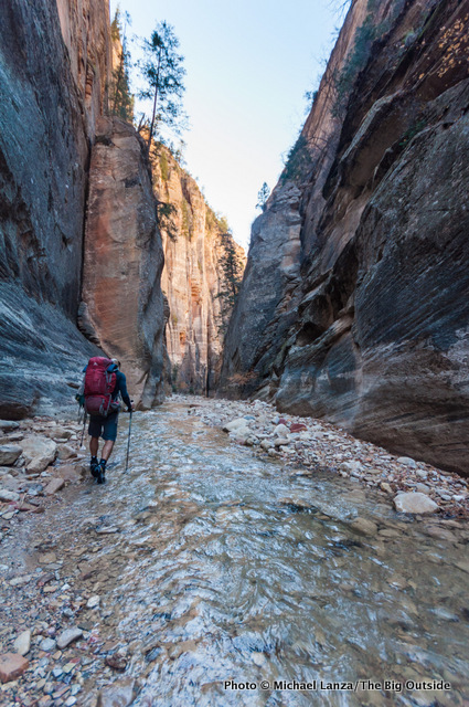First day backpacking The Narrows, Zion National Park.