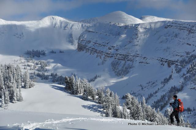 Backcountry skiing in the Teton Range, Wyoming.