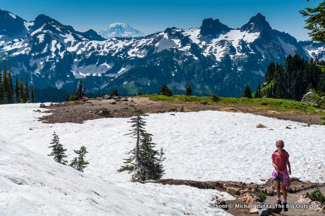 Hiking above Paradise at Mount Rainier National Park, Washington.
