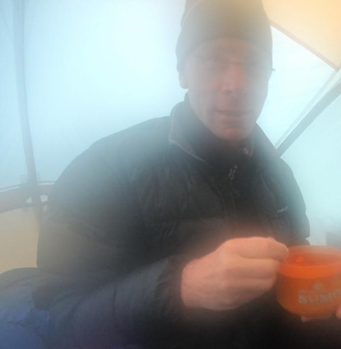 Damp tent, Olympic Mountains, Washington.