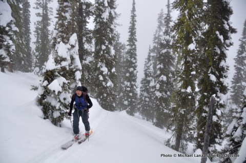 Backcountry skiing Winter Corner near Idaho's Mores Creek Summit.