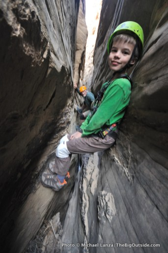 Descending a slot canyon, Capitol Reef.