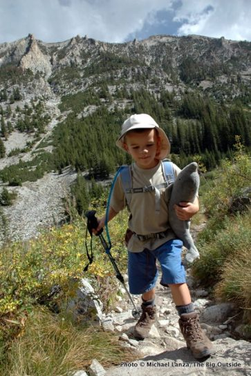 Nate hiking to Alice Lake, Sawtooth Mountains, Idaho.
