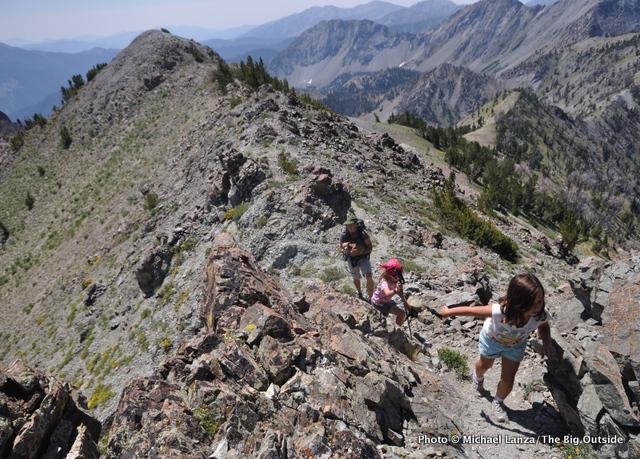 Young girls hiking Norton Peak, Smoky Mountains, Idaho.