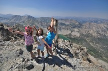 Alex, Adele, Mae atop Norton Peak, Smoky Mountains, Idaho.