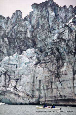 Kayakers, Lamplugh Glacier.