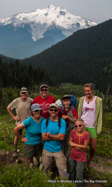 A group of adult and children backpackers at Buck Creek Pass in the Glacier Peak Wilderness.