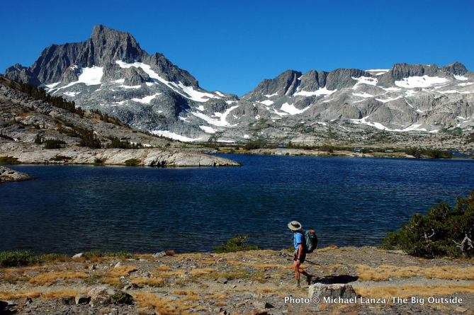 Banner Peak above Thousand Island Lake on the John Muir Trail in the Ansel Adams Wilderness of California's High Sierra.