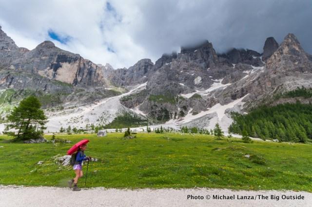 My daughter, Alex, hiking the Alta Via 2 in Parco Naturale Paneveggio Pale di San Martino, Dolomite Mountains, Italy.