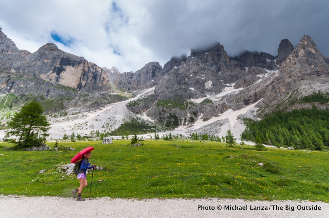My daughter, Alex, hiking the Alta Via 2 in Parco Naturale Paneveggio Pale di San Martino, Dolomite Mountains, Italy.