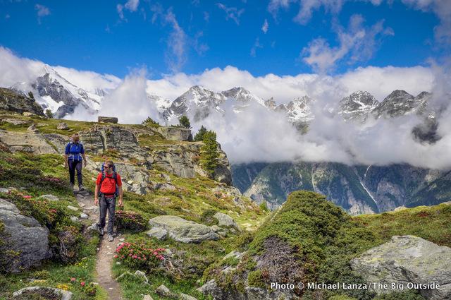Trekkers on the Europaweg, or Europa Trail, near Zermatt in the Swiss Alps.