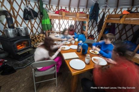 Inside the Banner Ridge yurt.