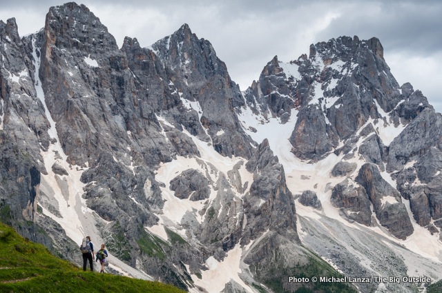 Trekking below the Pale di San Martino in Italy's Dolomite Mountains.