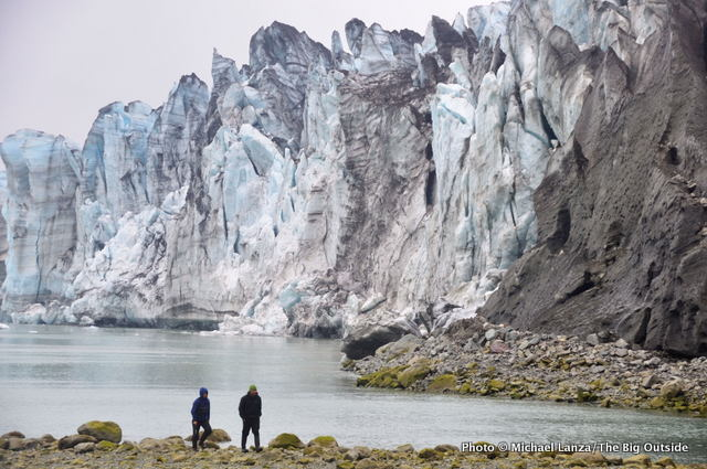 Kayakers visiting the Lamplugh Glacier, Glacier Bay National Park.