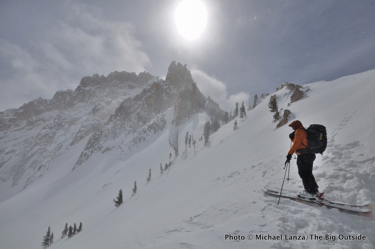 Backcountry avalanche instructor Chago Rodriguez skiing in the shadow of Mount Heyburn in Idaho's Sawtooth Mountains.