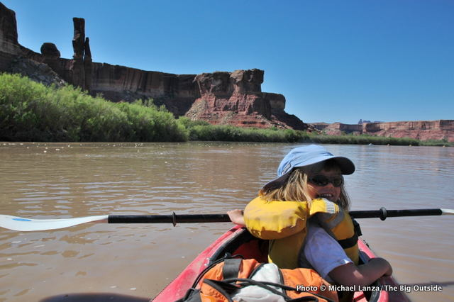 My daughter on the Green River in Stillwater Canyon, Canyonlands National Park.