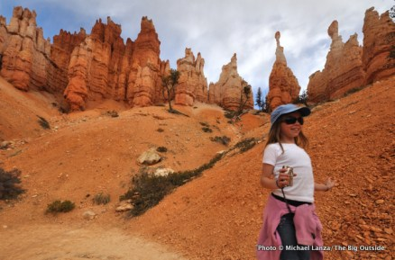 A young girl hiking the Peek-a-Boo Loop in Bryce Canyon National Park