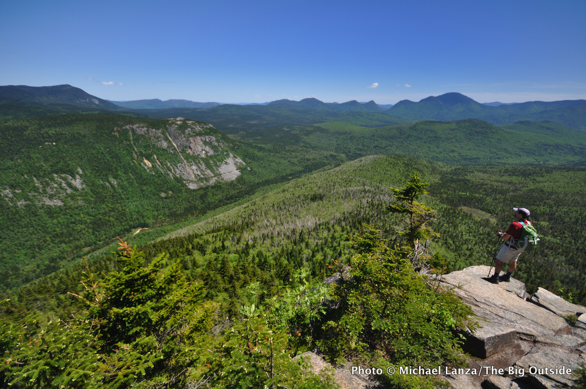 A hiker atop Zeacliff in the White Mountains, N.H.