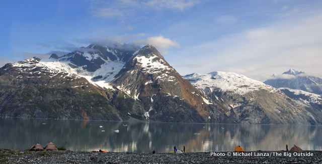 Campsite in Johns Hopkins Inlet, Glacier Bay National Park, Alaska.