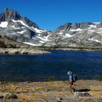 John Muir Trail at Thousand Island Lake, Ansel Adams Wilderness, High Sierra, California.