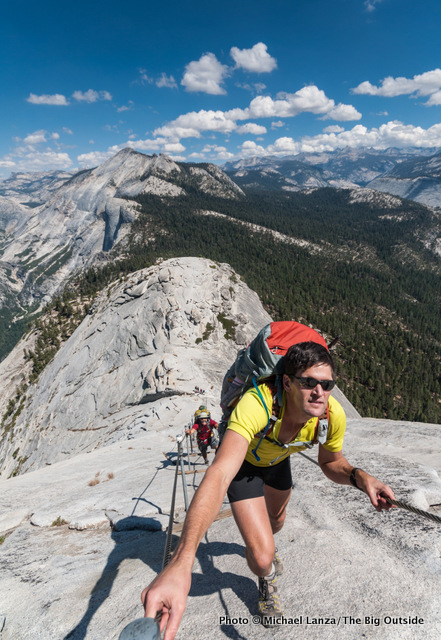 Todd Arndt climbing Half Dome's cables.