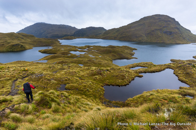 Trekking the Dusky Track in New Zealand's Fiordland National Park.