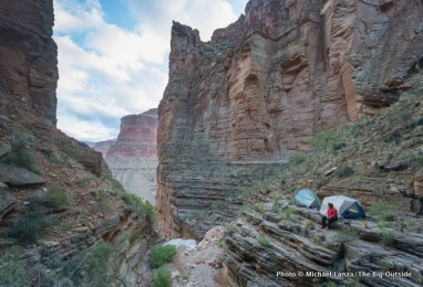 The campsite by Royal Arch (which is behind the photographer) in the Grand Canyon.
