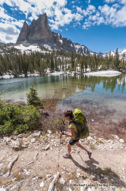 Jan Roser backpacking to Alice Lake in Idaho's Sawtooth Mountains.