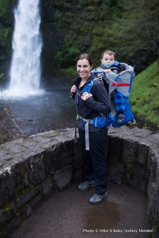 Shanti Hodges with Mason at Horsetail Falls in the Columbia Gorge, Oregon.