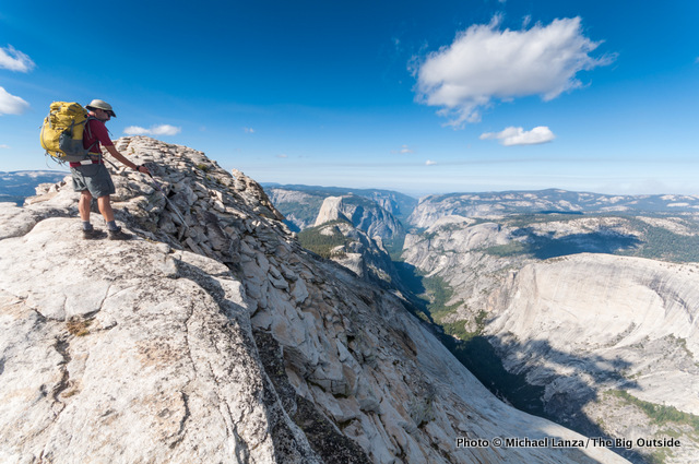 A backpacker on Clouds Rest, Yosemite National Park.
