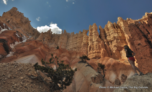 Cyndi Hayes below the Wall of Windows on the Peek-a-Boo Loop, Bryce Canyon National Park, Utah.