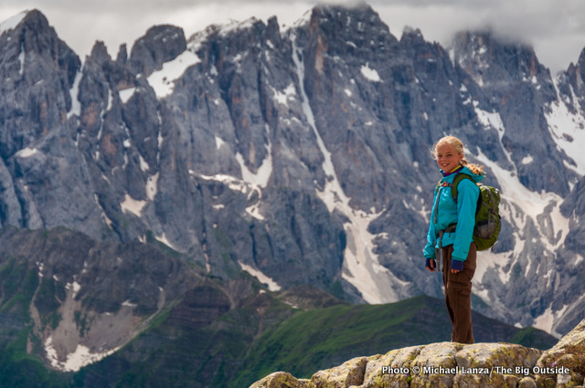 My daughter, Alex, trekking the Alta Via 2 in Italy's Dolomite Mountains.