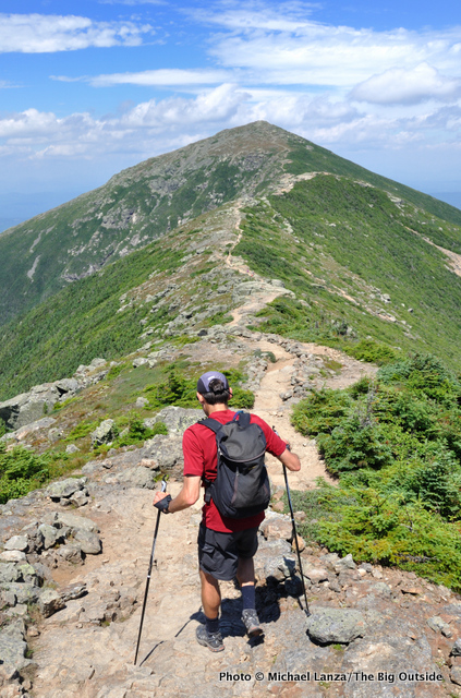 Mark Fenton hiking Franconia Ridge, White Mountains, N.H.