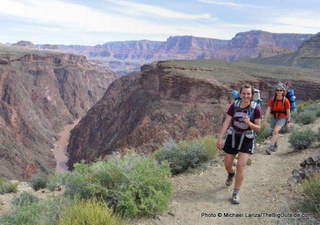 Jasmine Wilhelm and my wife, Penny, backpacking on the Tonto East Trail, Grand Canyon.