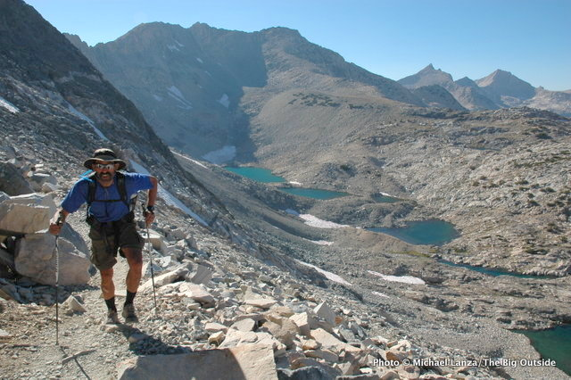 Mark Fenton hiking to Glen Pass on the John Muir Trail in Kings Canyon National Park.