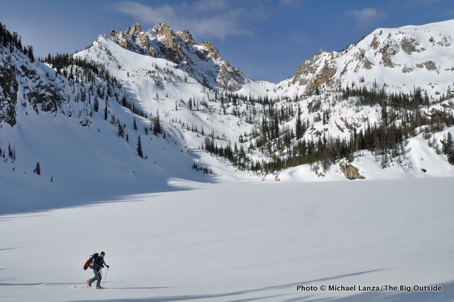 Skiing past the Bench Lakes, below Mount Heyburn, Sawtooths, Idaho.
