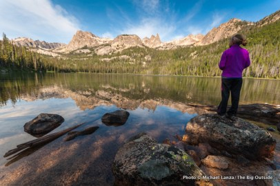 Alex at Hell Roaring Lake, Sawtooth Mountains.