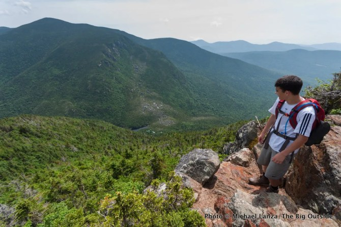 Marco Garofalo high above Carter Notch in the White Mountains, N.H.