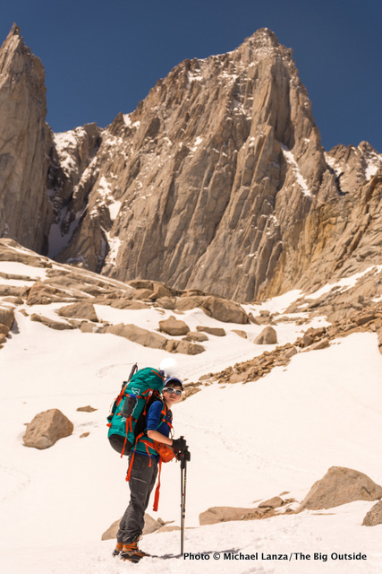Teenage boy backpacking to climb California's Mount Whitney.