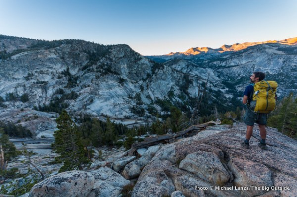A backpacker in the backcountry of Yosemite National Park.