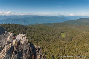Mounts Rainier and Adams, from Larch Mountain, Columbia Gorge.