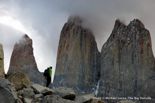 A hiker in Torres del Paine National Park, in Chile's Patagonia region.